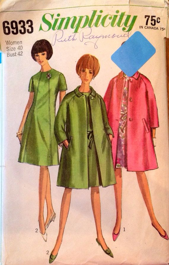 And Pattern Sewing Simplicity Women's 1960s Dress Vintage Coat 6933 qO7Tx0H0w