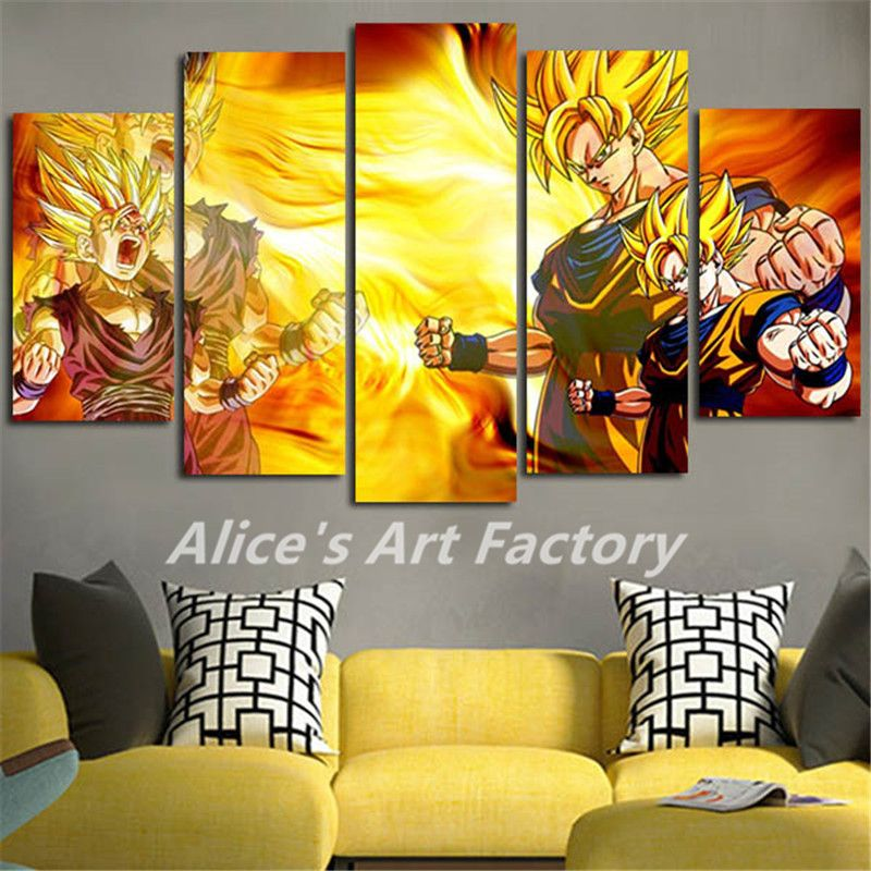 5Piece Wall Art Canvas Prints Anime Posters Pictures Wall Decor Oil ...