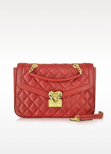 LOVE MOSCHINO HEART QUILTED ECO LEATHER SHOULDER BAG ... : quilted handbags leather - Adamdwight.com