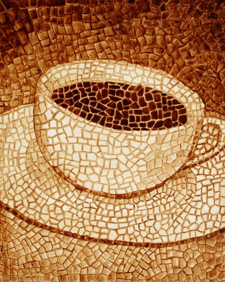 Mosaic of coffee - Just an idea for myself to do. (white,4 shades of brown, light to dark)