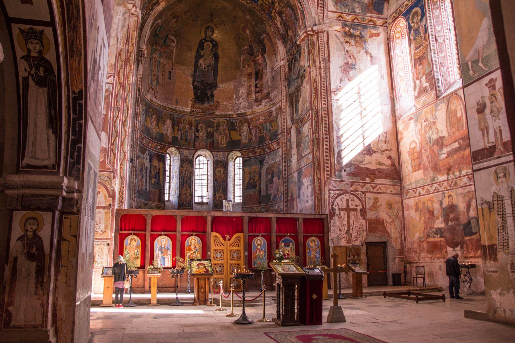 The interior of the stunning Gelati monastery in Kutaisi, Georgia - Lost With Purpose