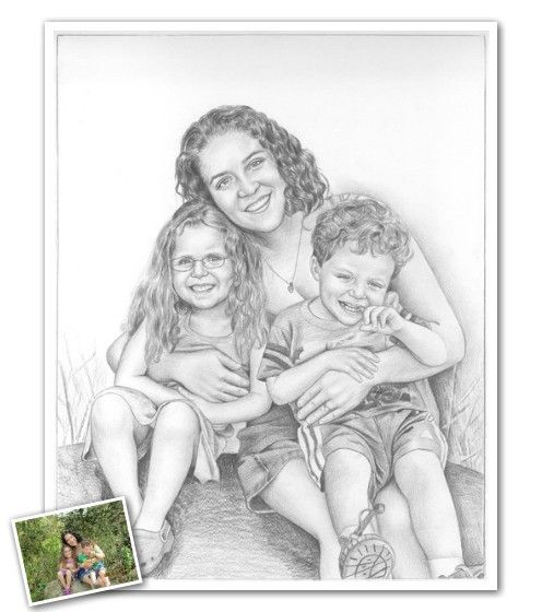 Hand drawn pencil sketch from photos mydavinci com a foolproof mothers day gift youre welcome