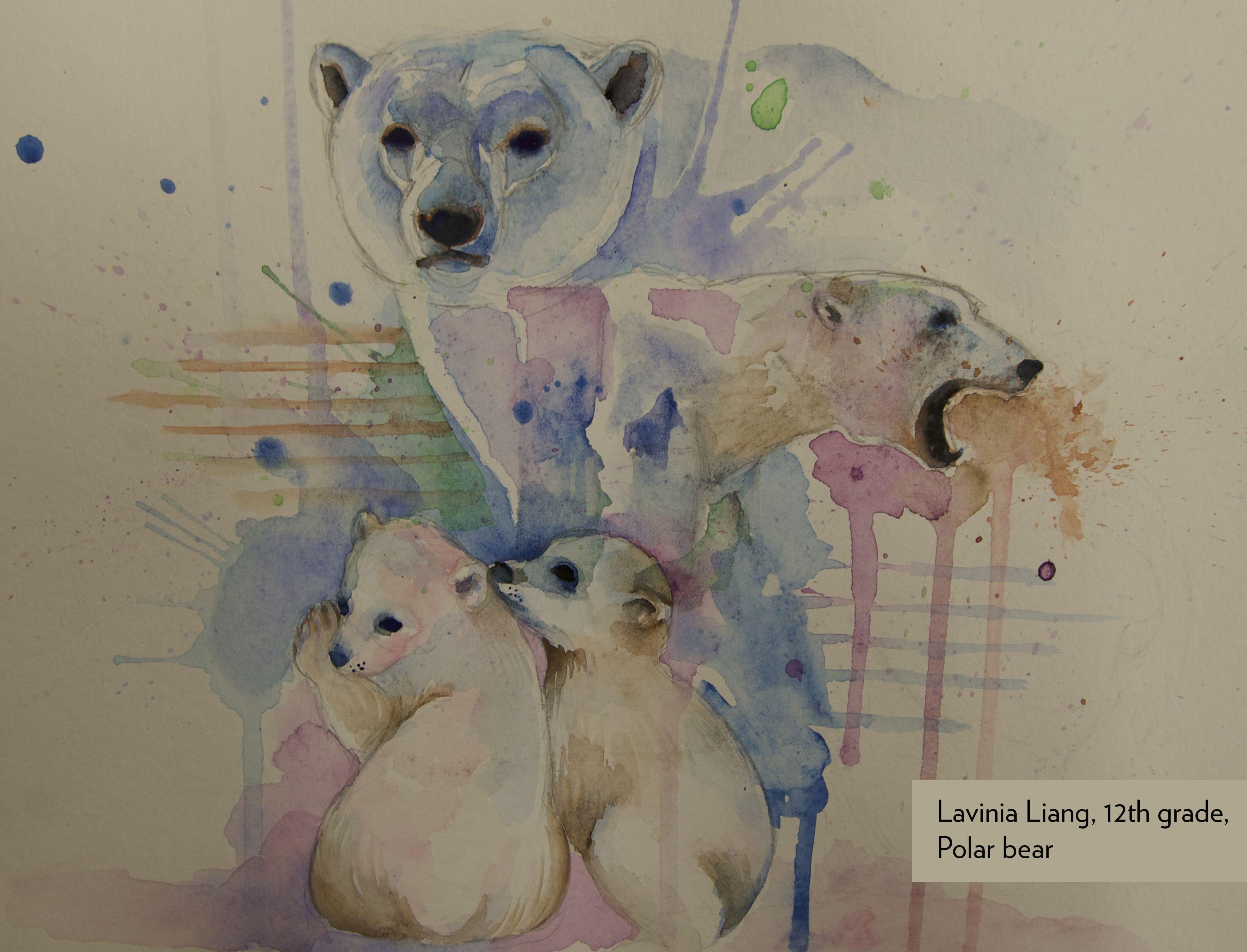 Art Contest Semifinalist, Grades 9-12: Polar bear, Lavinia Liang, Age 17, Spackenkill High School