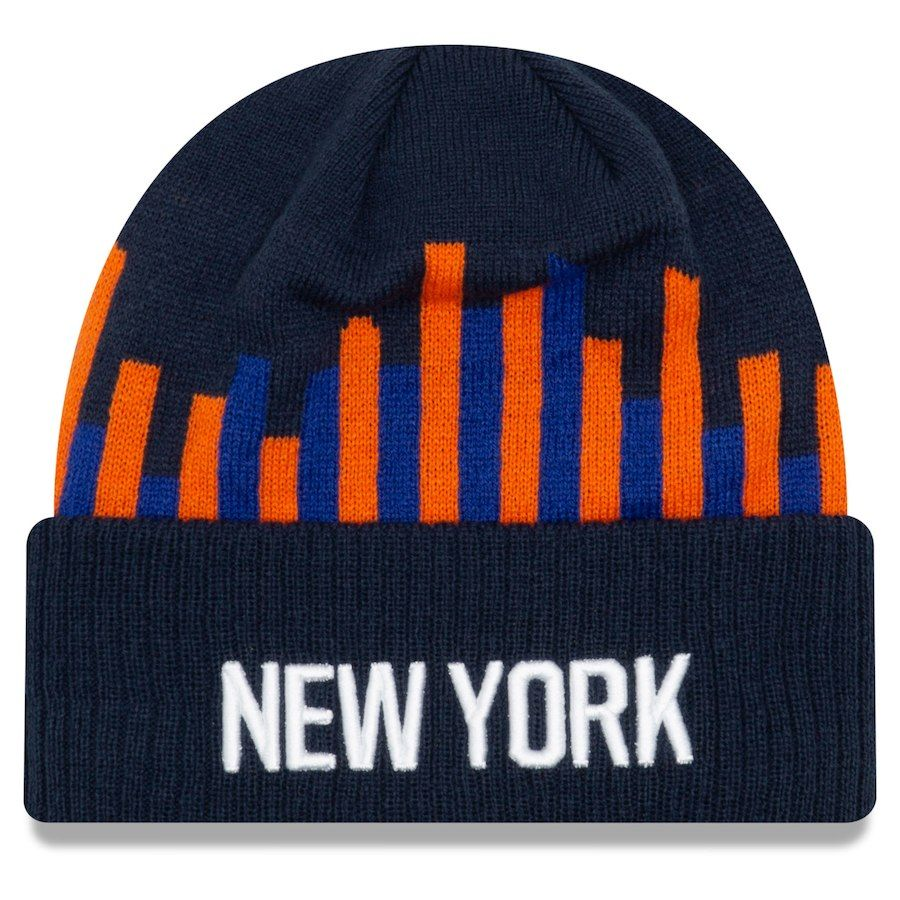 cc5d02a2fbd Men s New York Knicks New Era Navy 2018 City Edition Cuffed Knit Hat ...