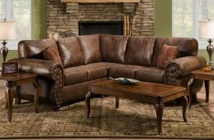 classic brown sectional   Brown Smokey Leather Like ...