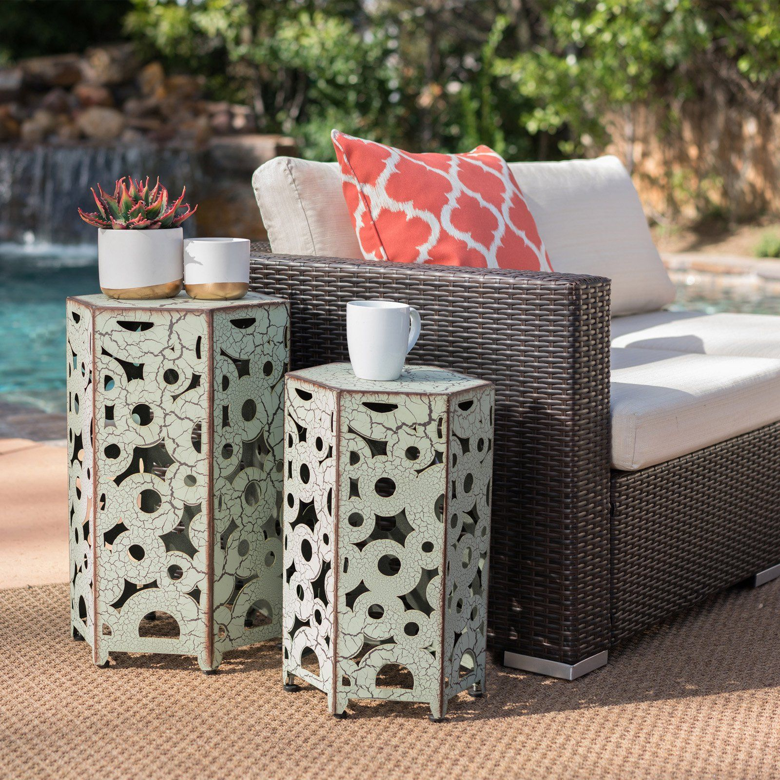Free Shipping Buy Coral Coast 2 Piece Nesting Table At Walmart Com With Images Iron Accent Table Iron Accents Nesting Tables