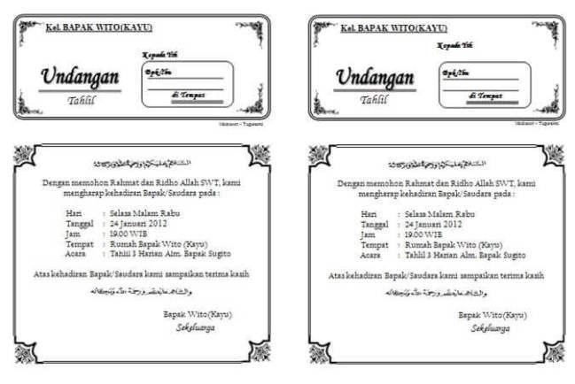 Download Undangan Tahlil 1 Lembar Isi 2 Undangan Contoh Kartu Nama Cv Kreatif