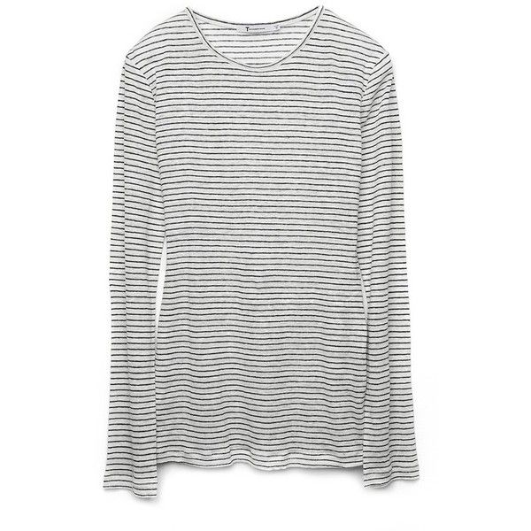 No Linen Stripe Long Sleeve Tee ($110) ❤ liked on Polyvore