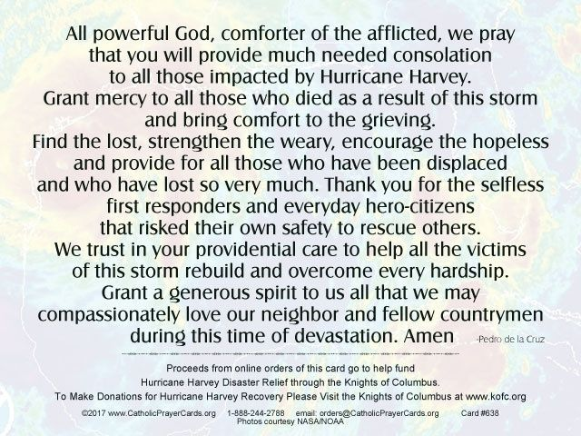 Prayer For The Victims Of Hurricane Harvey Onefreecardforeachoneordered Prayers Prayer For Safety The Afflicted