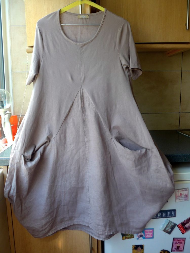 c30fef1fa4 C. VALENTYNE DRESS MADE IN ITALY LINEN BLEND QUIRKY LAGENLOOK 2 PANEL  FABRIC M