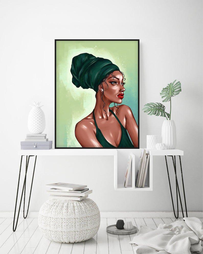 Afro Pretty Woman Facial Wall Print Makeup Wall Art Diva Etsy In 2020 Makeup Wall Art Trendy Wall Art Illustration Wall Art