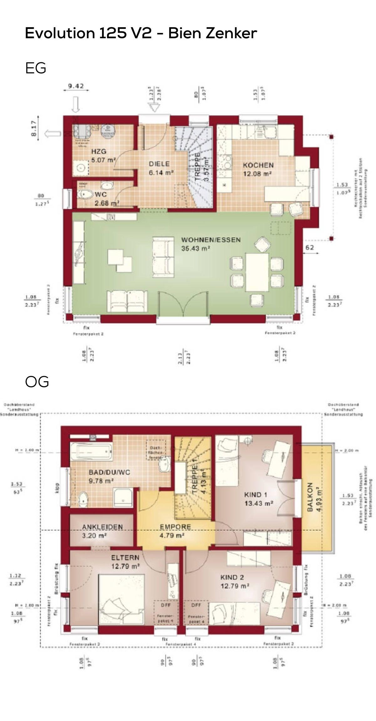 Grundriss Satteldach Haus modern - 4 Zimmer, 124 qm Wfl., ohne ...