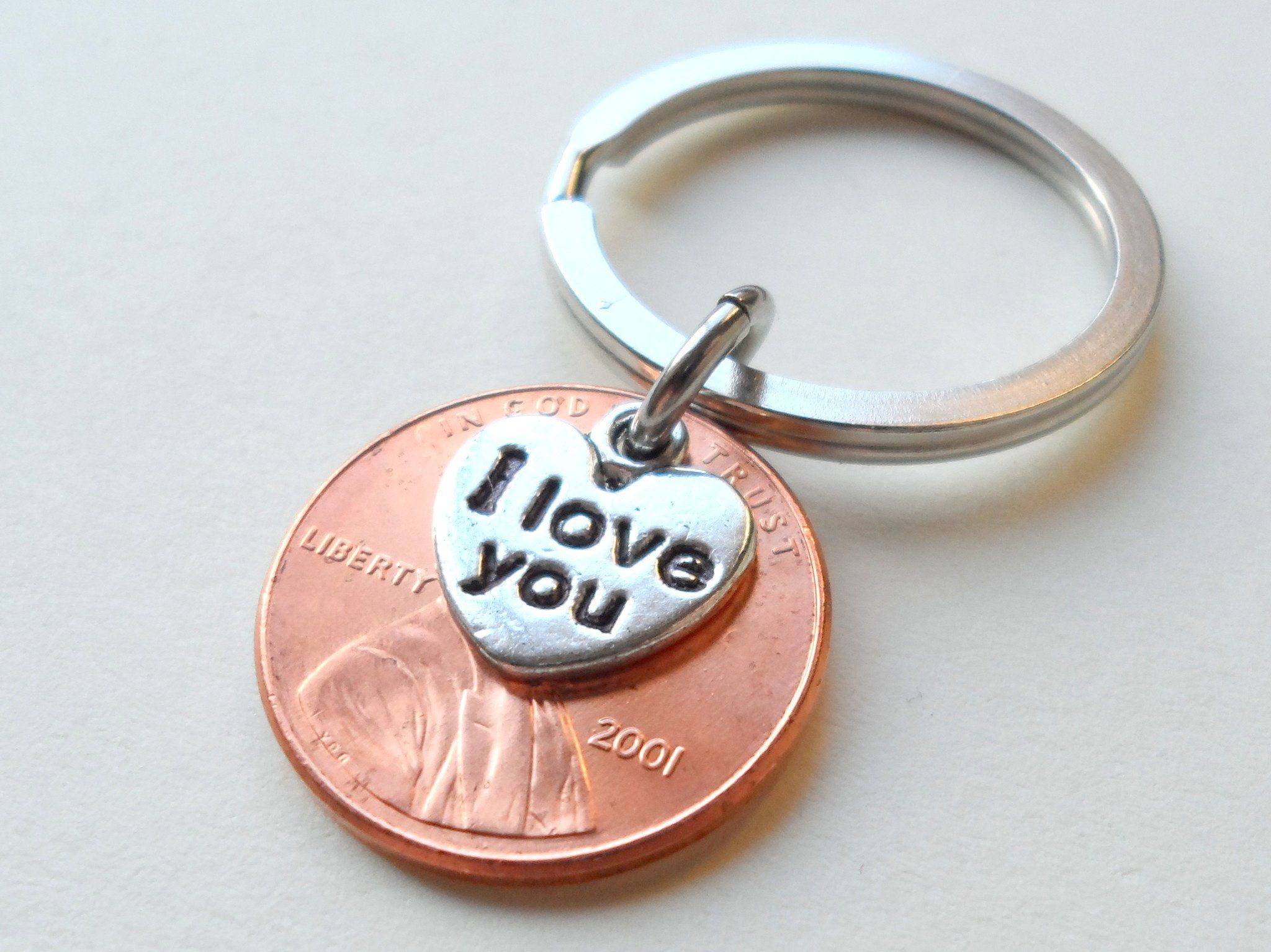 19 year anniversary gift 2001 penny keychain w i love