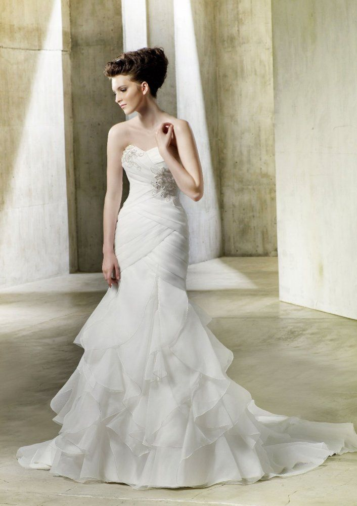 Cute Fit u Flare Sweetheart Vertical Draped Ruffled Skirt Chiffon Wedding Dress wf