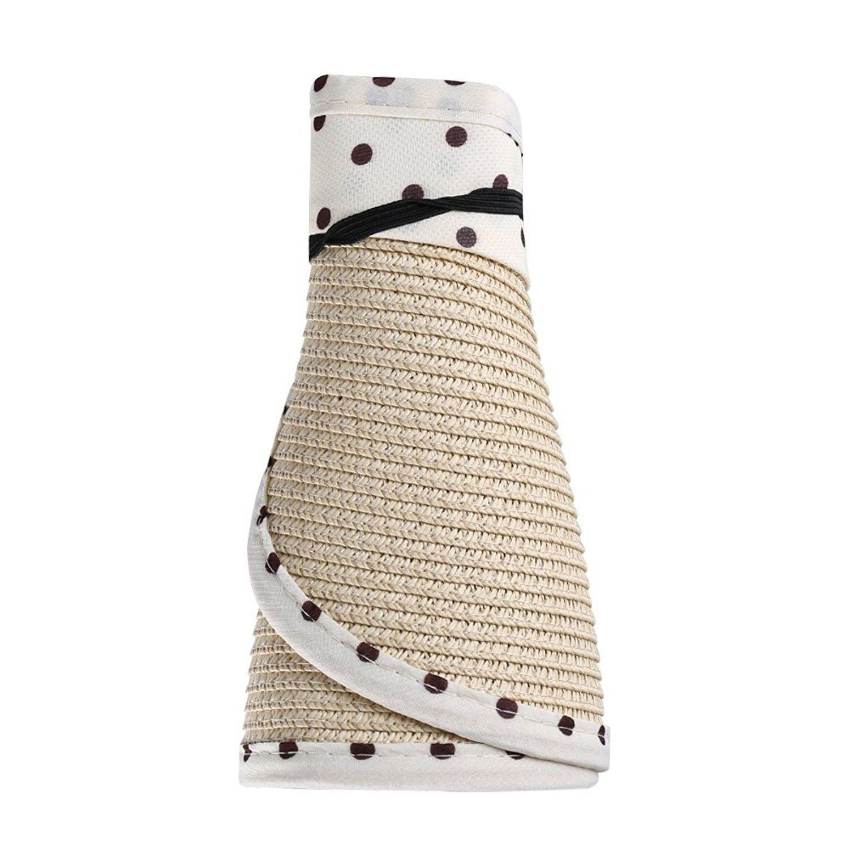 68f9fec87 Women's Roll Up Straw Floppy Wide Brim Sun Visor Hat With Polka Dot ...