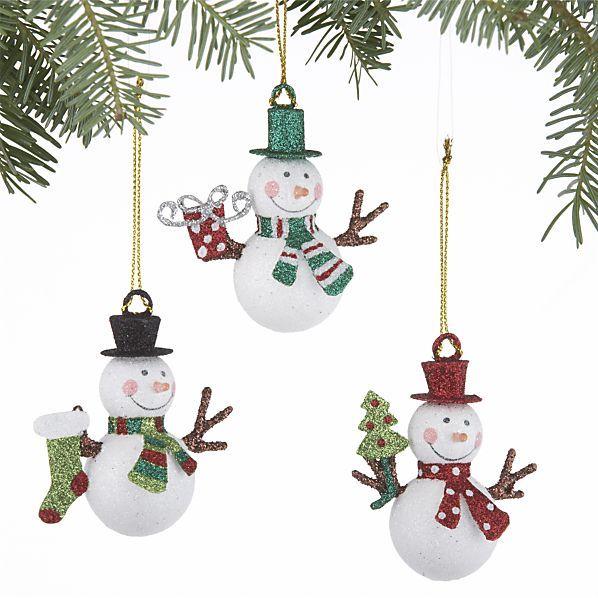 Set of 3 Mini Glitter Snowman Ornaments in Christmas Ornaments - christmas decorations sale