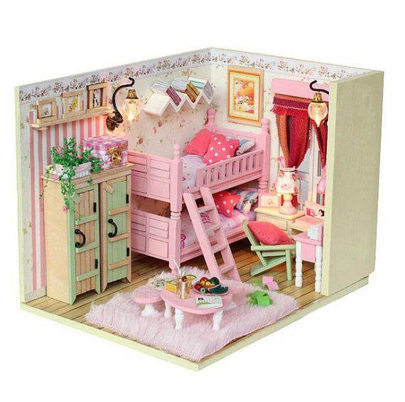 DIY Doll House Handcraft Miniatures LED Furniture Kit Light Girls Room Kids Gift