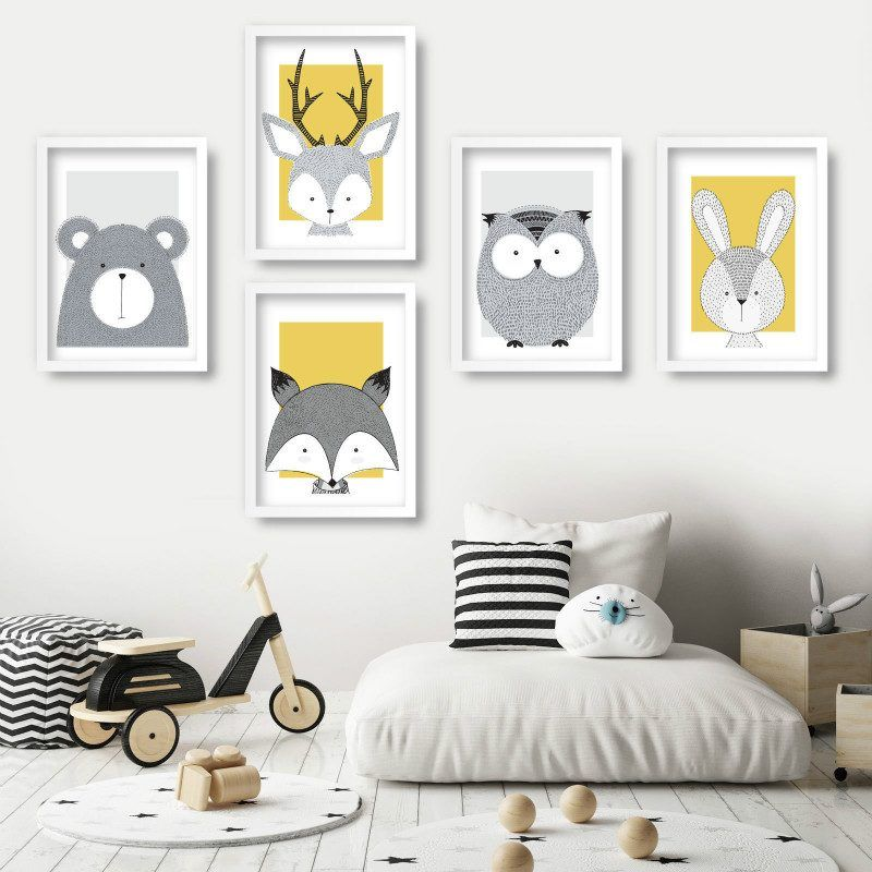 Nursery Art Animals Gallery Wall Art Prints Yellow Bear Fox Deer