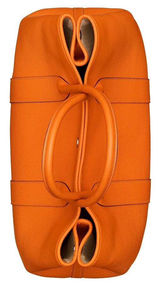0b1454ae67e8b Hermes - Orange leather Garden Party handbag. Overhead top view ...