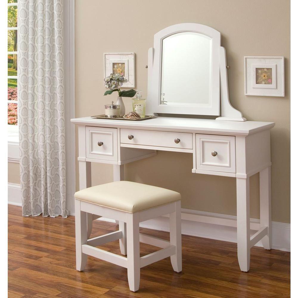 Homestyles Naples 3 Piece White Vanity Set Bedroom Vanity Set