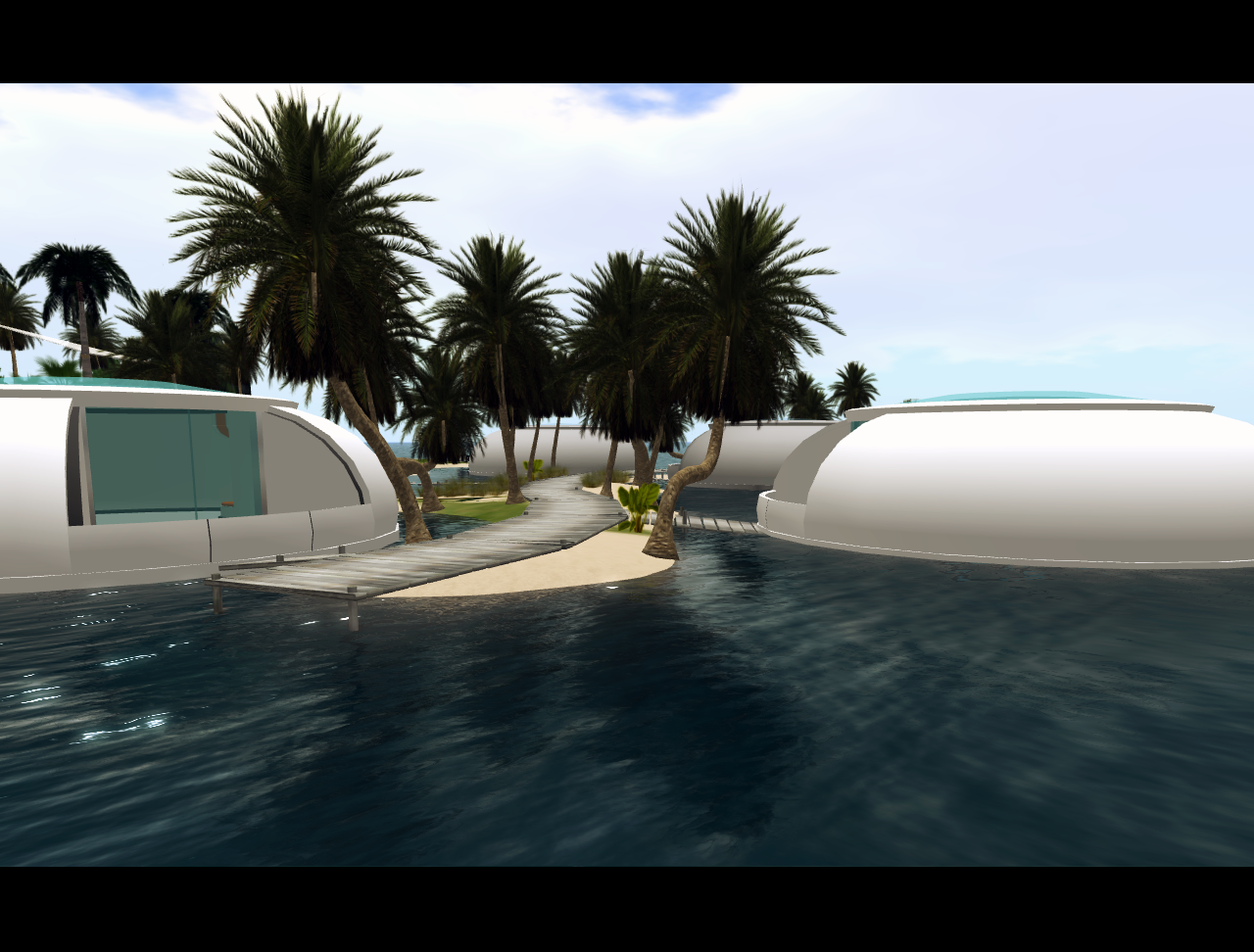 Another shot from Ugli Fruit, our island in Second Life. In the picture a couple of the habitats (inspired by Venus Project)
