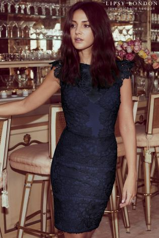 Lace Dress With Frill Sleeve - Navy Lipsy Cheapest Price Online Sale Sale Online Cheap Buy Fashion Style Cheap Price Free Shipping Low Shipping r4IMa