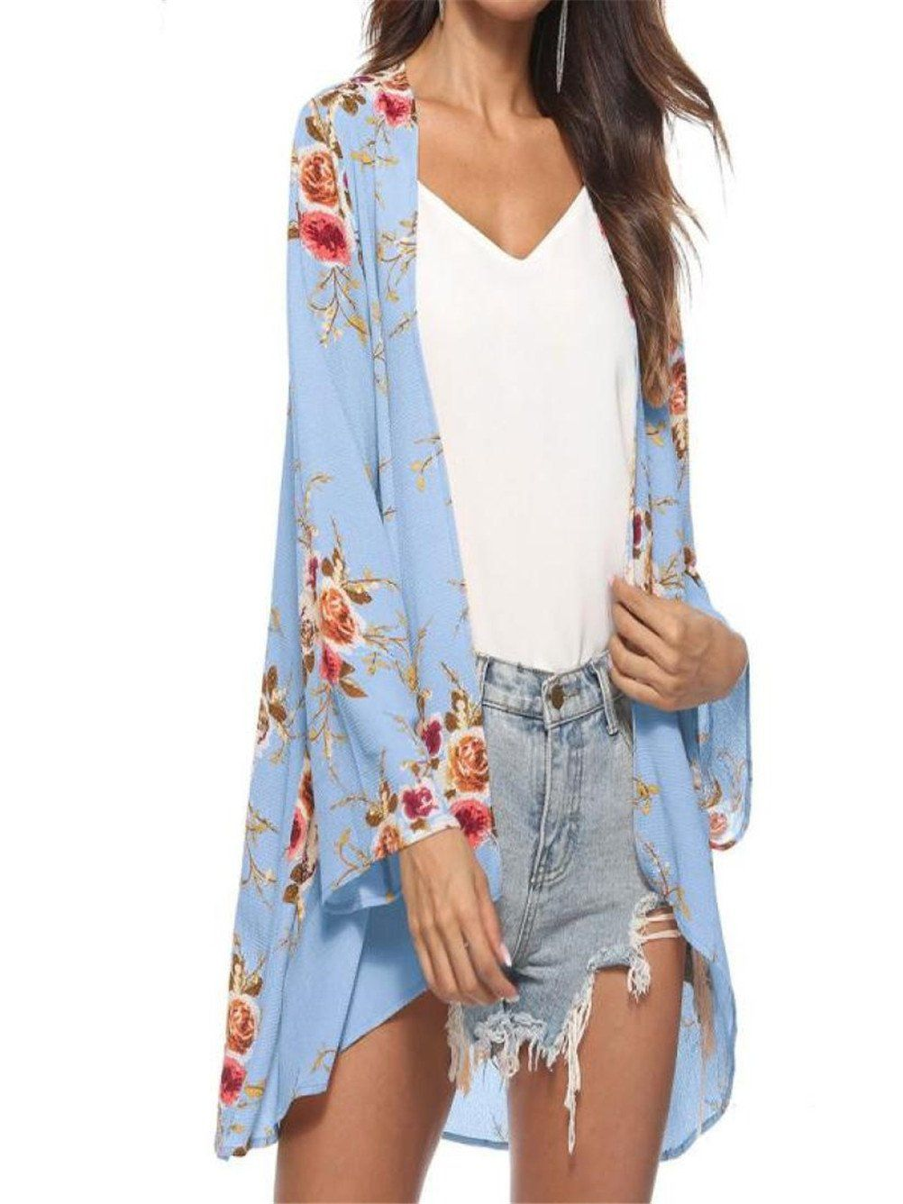 Anjunie tops women blouse floral cover casual tops loose kimono