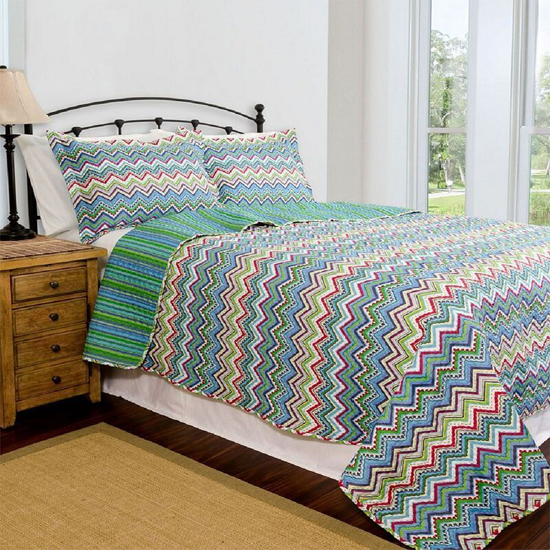 Pegasus Home Fashions Zanadu Home ID Collection Contemporary Quilt Set, Turquoise/Blue (Turq/Aqua)