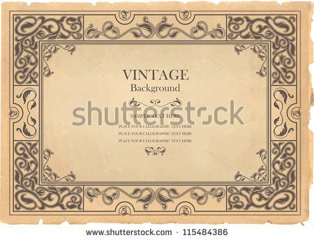 Vintage background, oldfashioned, ripped, grungy paper, ornate - award paper template