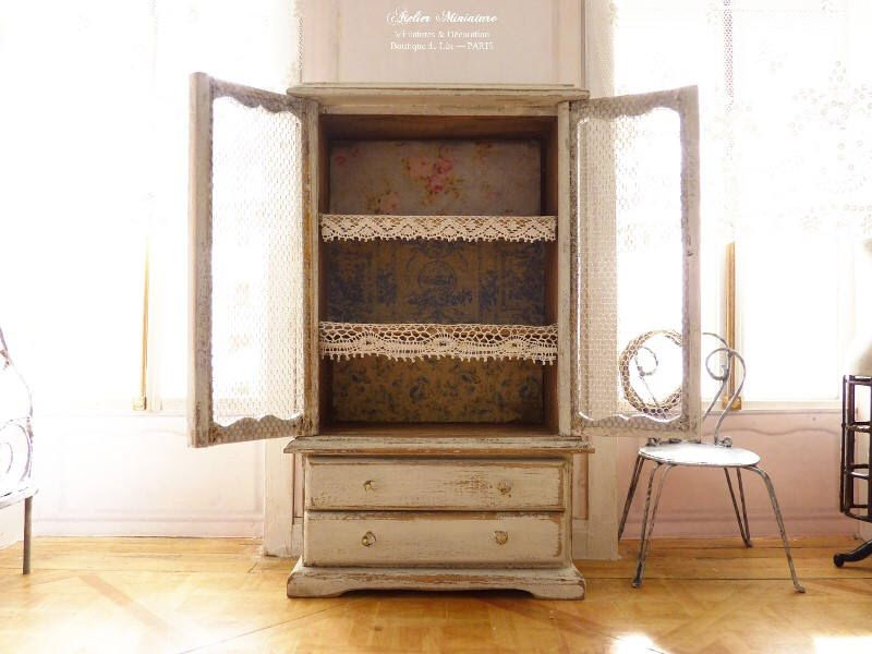 Countryside Cabinet, Miniature Furniture, Aged Gray White, Mesh Doors,  Functional Drawers,