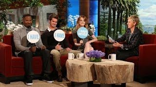 Emma Stone, Jamie Foxx and Andrew Garfield all participated in a revealing round of the saucy question and answer game.