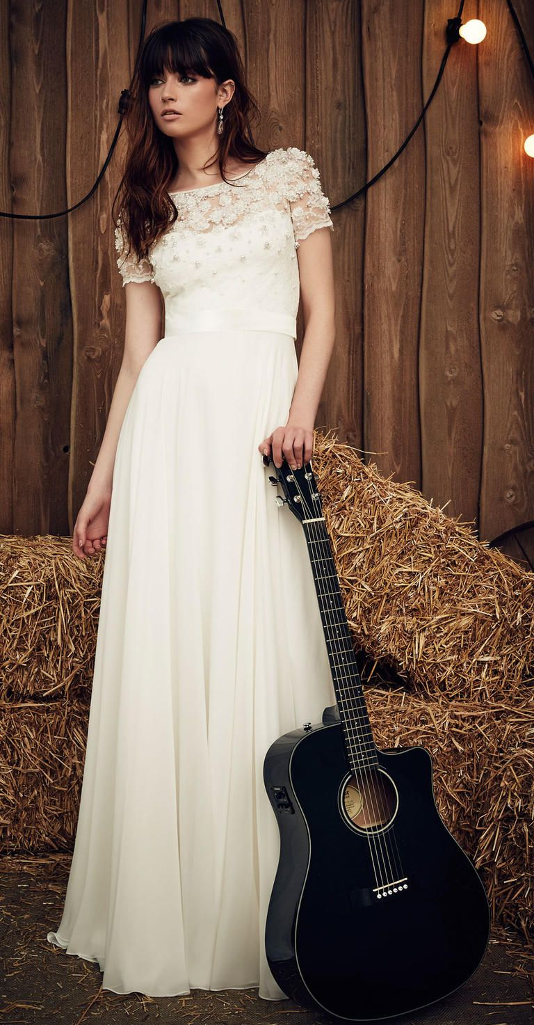 Jenny Packham Spring 2017 Taylor Wedding Dress With Floral Appliques On The Short Sleeves And Bodice Belted Waist Flowing Silk Skirt