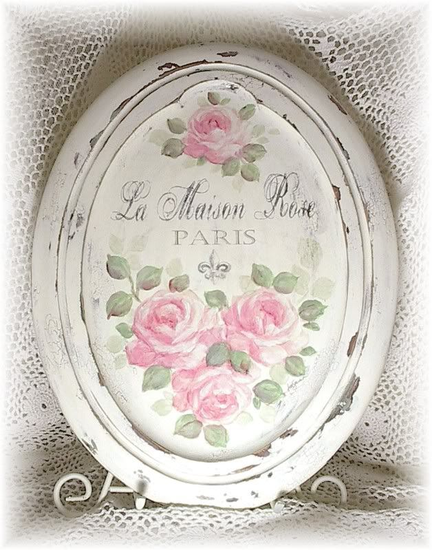 French Paris Chandelier /& Pink Rose Plaque Wall Decor Cottage Chic