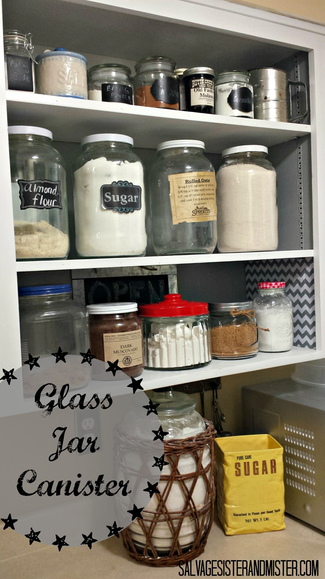 Turn a free jar into a glass jar canister. Quick and simple.