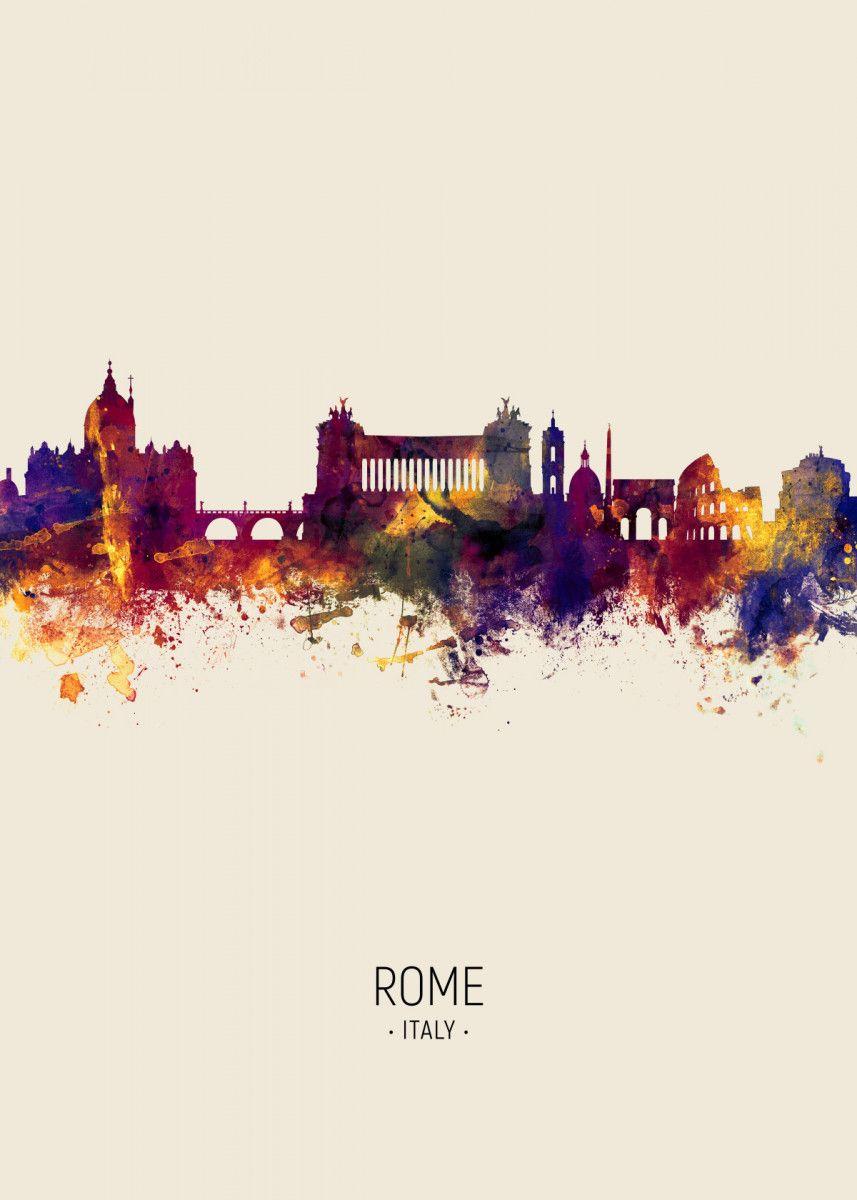 Rome Italy Skyline Poster Print By Michael Tompsett Displate In 2020 Landscape Poster Skyline Artwork Poster Prints