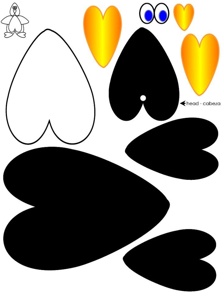 Heart Penguin Craft Template Educational Finds and Teaching - penguin template