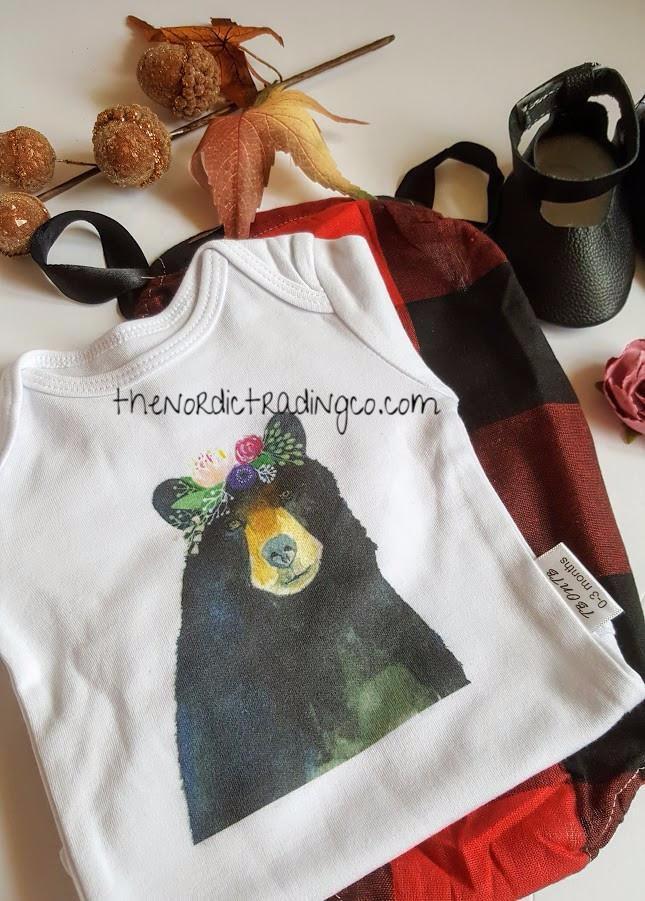 b9630541499 Baby Bear Newborn Girl s Set Graphic Onesie Buffalo Plaid Romper Mary Jane  Leather Mocs Cherry Hairband
