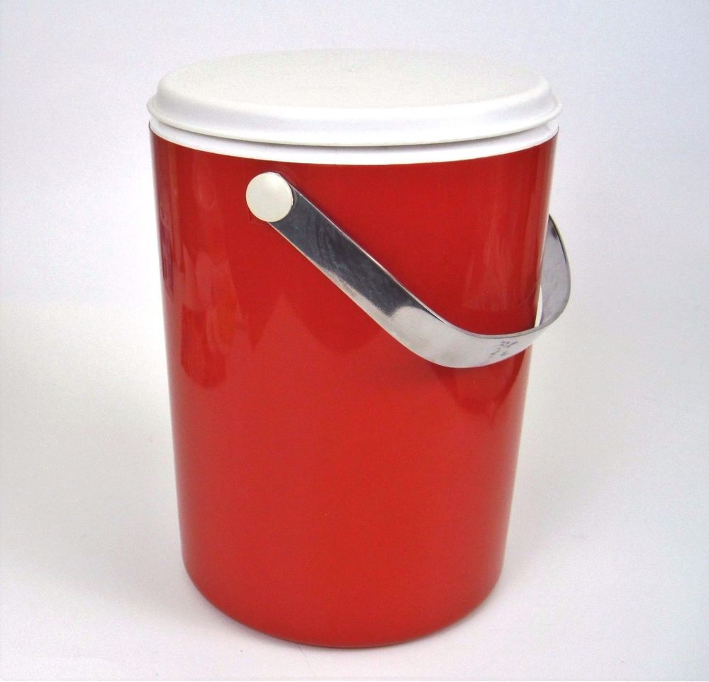 Vtg Orange Ice Bucket Insulated Mcm Canister Cooler Metal Handle Barware Unknown Midcenturymodern Barware Vintage Barware Ice Bucket
