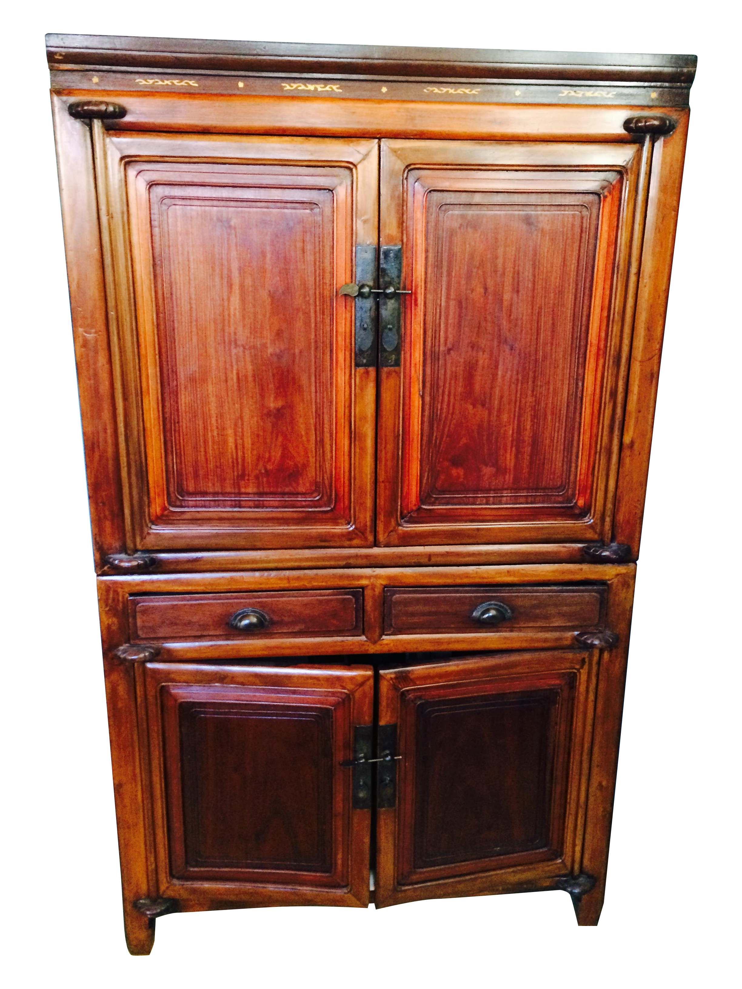 Antique Chinese Chest Cabinet Armoire Elm Inlay on Chairish.com ...