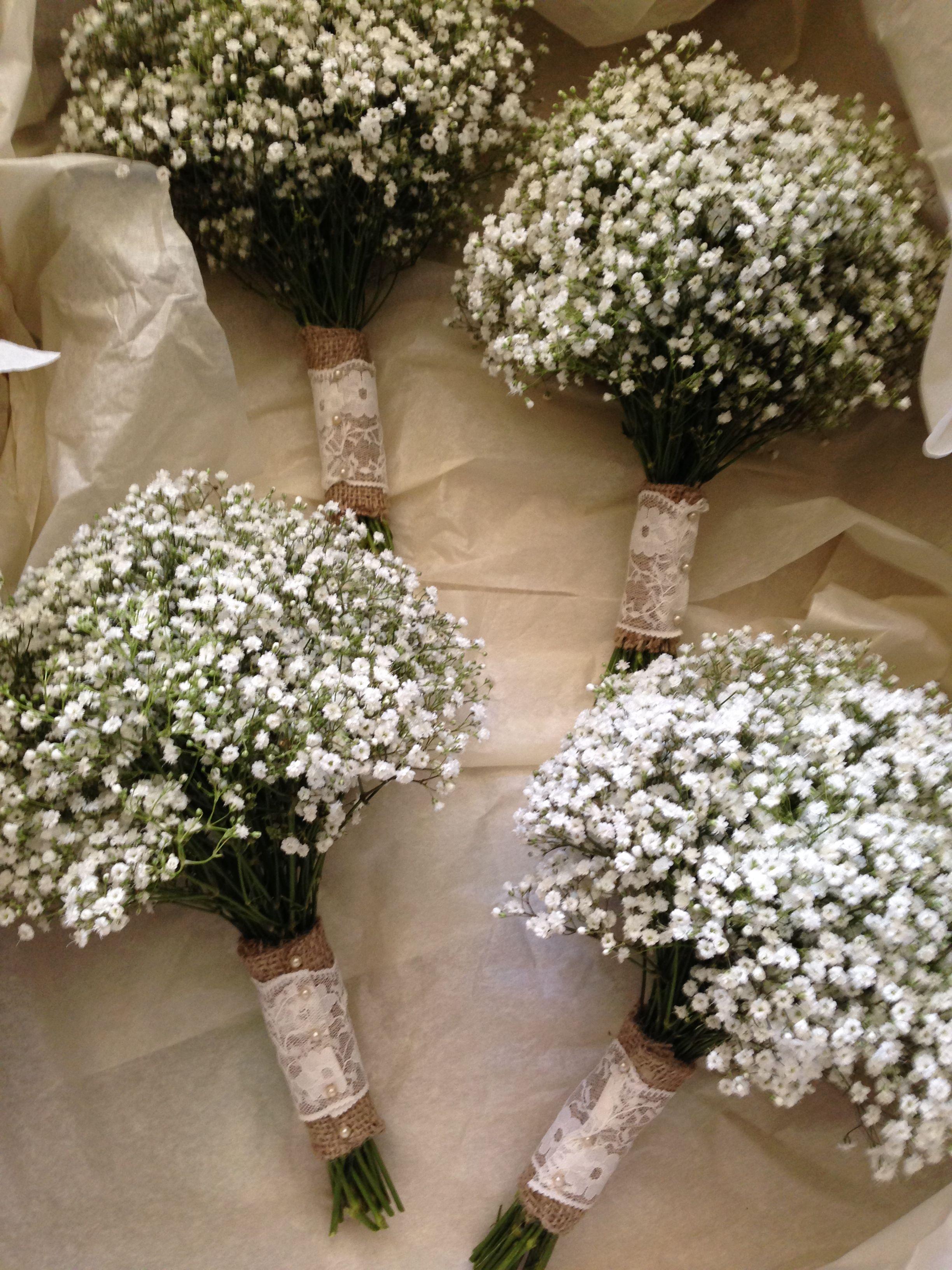 Bridesmaids Gypsophila Bouquets Possibly Changing To White Stocks Braut Blumen Brautstrausse Hochzeit Tischdekorartion
