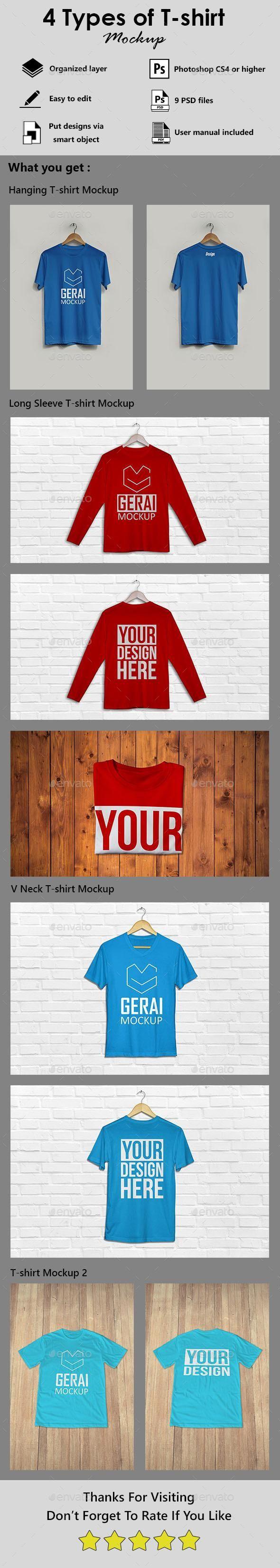 Download 4 Types Of T Shirt Mockup Bundle Graphicriver Bestdesignresources Tshirt Mockup Shirt Mockup Types Of T Shirts