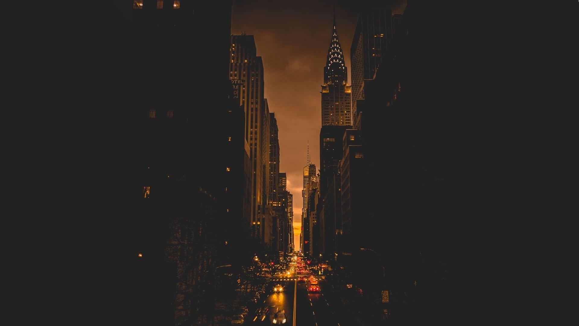 Concrete Buildings New York City Evening Town Street Light Dark 1080p Wallpaper Hdwallpaper Desktop Panoramic Photography Futuristic City City Wallpaper