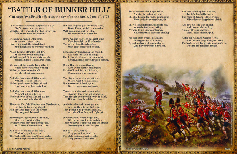 Read Battle Of Bunker Hill Composed After The Battle Of Bunker Hill With A Preview Resourc Social Studies For Kids Teacher Created Materials Social Studies
