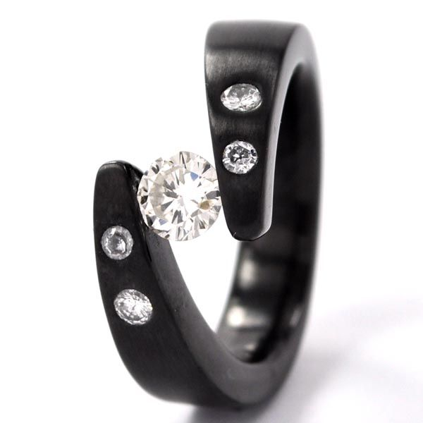 Fable Designs Black Zirconium diamond tension set Rings non