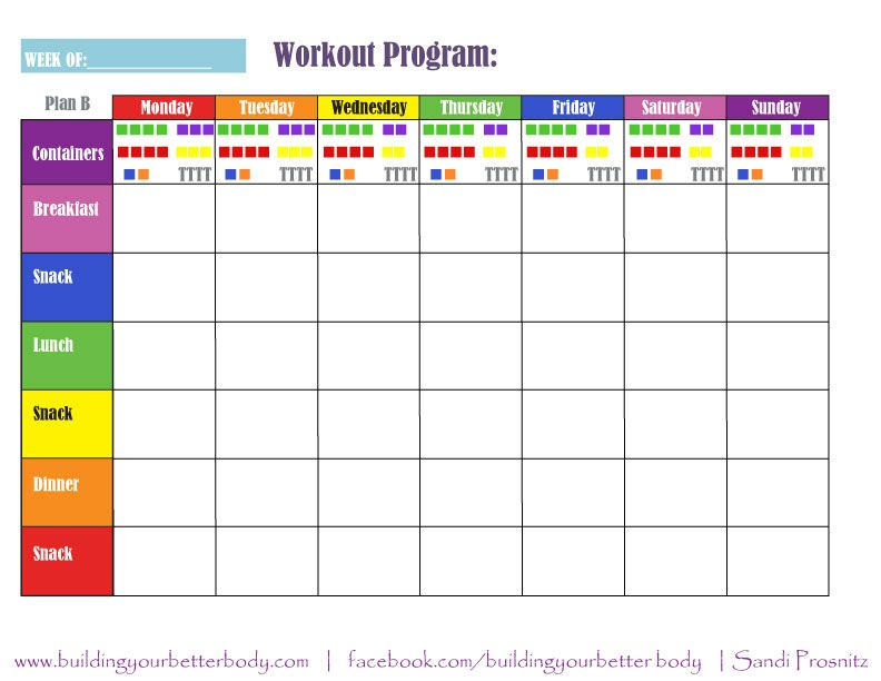 Plan B 21 Day Fix Meal Planning Template 1500-1799 Calorie Range