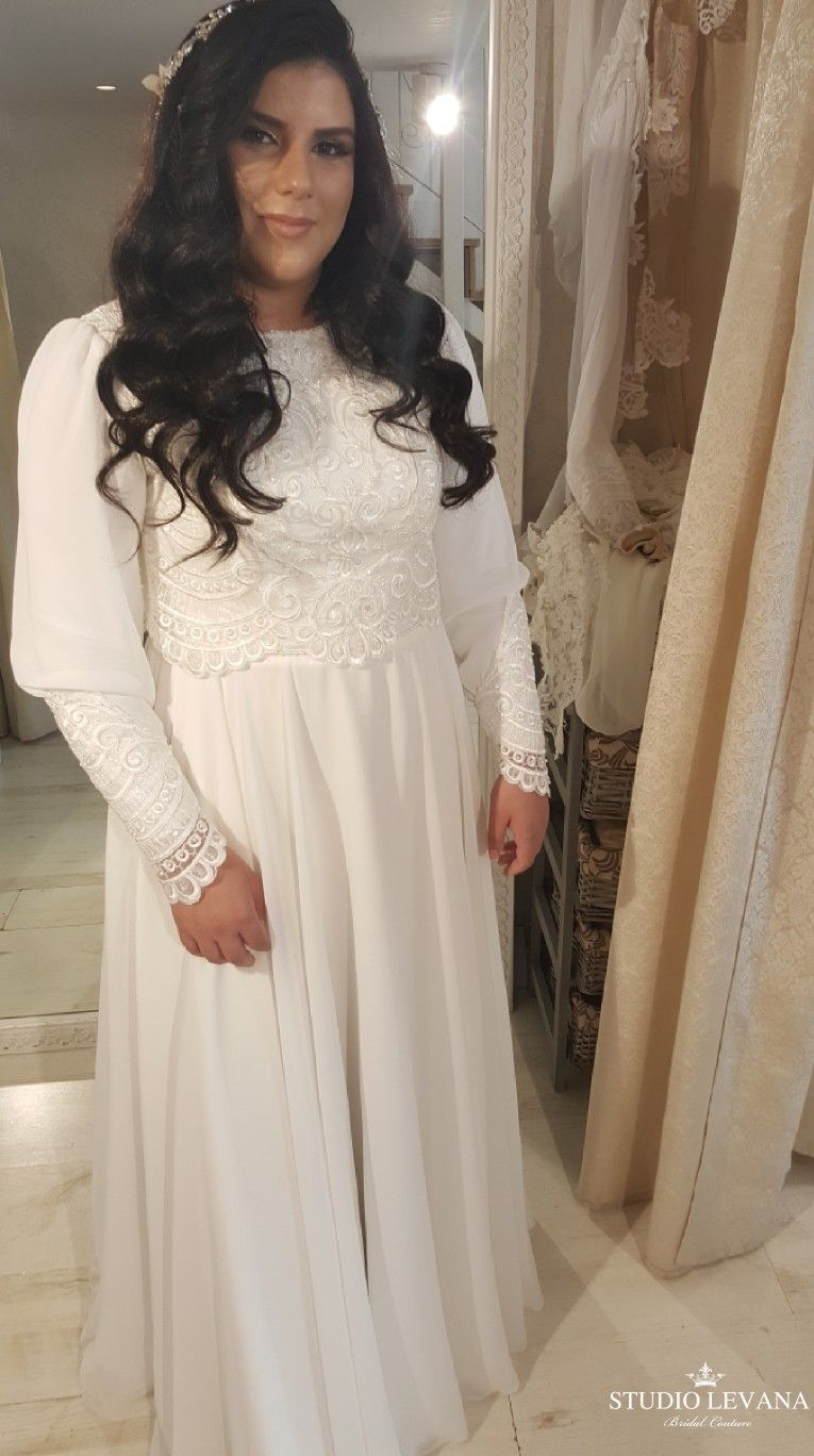 Plus Size Modest Wedding Gown With Chiffon Long Sleeves On A Real Bride Studio Levana Couture Wedding Gowns Dresses Plus Size Wedding,Mother In Law Wore Wedding Dress To My Wedding
