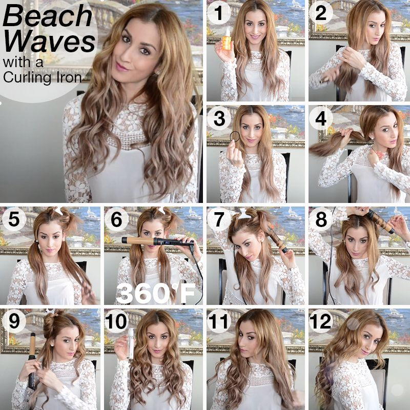 Easy Beachy Waves With A Curling Iron Watch The Hair Tutorial Here Http Youtu Be Wvpyhi1cz 8 Fancy Hairstyles Clip In Hair Extensions Curly Hair Styles