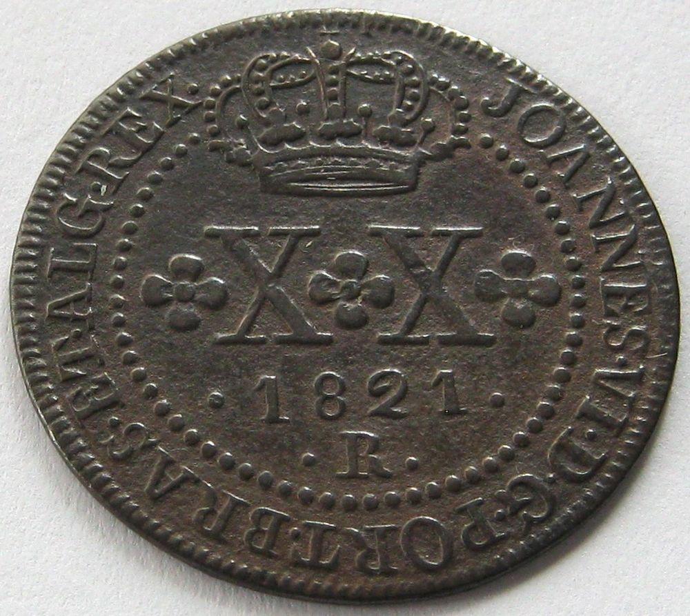 Brazil, Copper Coin, 20 Reis 1821 R, TOP High Grade, XF +++ !