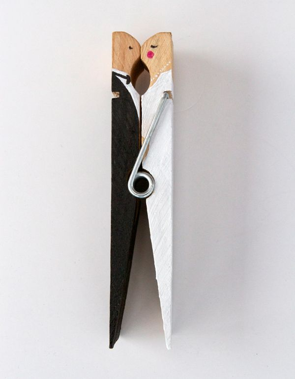 DIY: Kissing clothespin cake topper or used to clip gift bags at a shower.