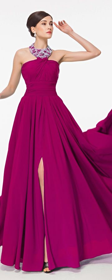 Magenta Halter Maid of Honor Dresses Bridesmaid Dresses | Vestidos ...